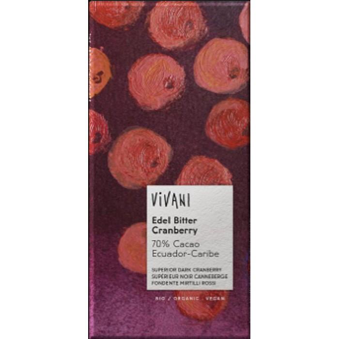 Vivani superior dark chocolate with cranberries - ladybio organic food lebanon